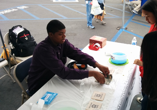 Kaiden volunteering at Omni Nano